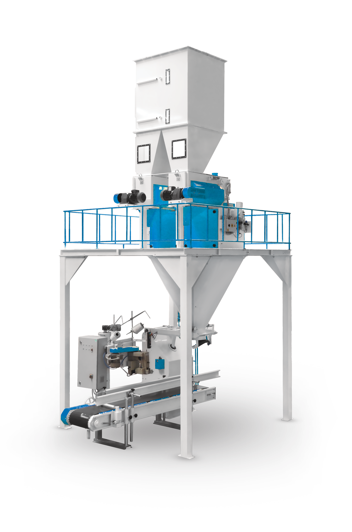 Bran Bagging Machine With Double Weigh Hopper & Single Station 15/50 Kg